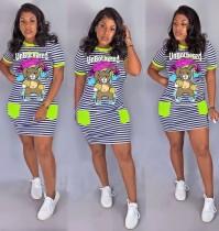 Vestido camisero de rayas con estampado de dibujos animados de verano