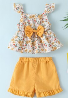 Kids Girl Summer Floral Two Piece Shorts Set
