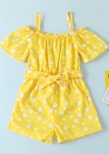 Tiras do amarelo da polca do verão da menina dos macacão