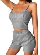 Conjunto de pijama de dos piezas de verano gris