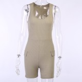 Summer Sports Bodycon Rompers with Belt