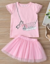 Conjunto de falda rosa de dos piezas de verano para niña