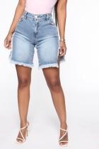 Sexy Blue High Waist Slit Plush Denim Shorts