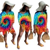Летние повседневные шорты Tie Dye из двух частей