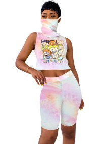 Summer Tie Dye Two Piece Sleeveless Shorts Set with Face Scarf