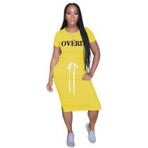 Sommer O-Neck Print Drawstrings Shirt Kleid