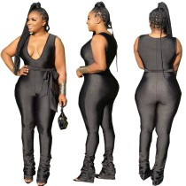 Summer Black Sexy Bodycon Jumpsuit with Belt