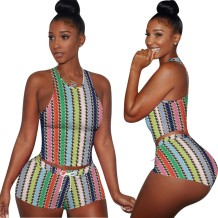 Summer Stripes Two Piece Leisure Shorts Set