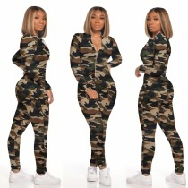 Sexy Print Long Sleeve Bodycon Zipper Jumpsuit