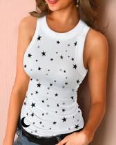 Camiseta sin mangas ajustada sexy de verano con cuello en O
