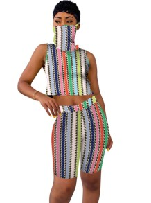 Summer Stripes Two Piece Sleeveless Shorts Set with Face Scarf