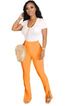 Pantalones de hendidura de cintura alta de color sólido sexy
