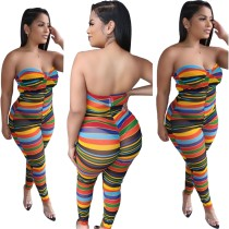 Sexy Mulit Color Stripes Trägerloser Overall