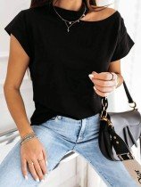 Summer Solid Color Cut Out Basic Shirt