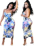 Seksi Baskı Backless Halter Midi Elbise