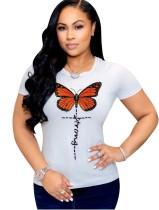 Sommer O-Neck Butterfly Basic Shirt