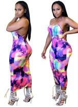Sexy Print Backless Halter Midi Dress