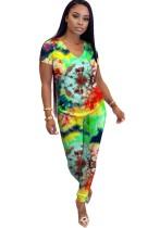 Conjunto de pantalones de verano de dos piezas con efecto tie dye