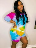 Summer Casual Two Piece Tie Dye Shorts Set