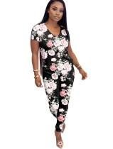 Conjunto de pantalones florales ocasionales de dos piezas de verano
