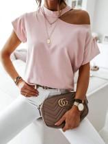 Camisa básica de verano con corte de color liso