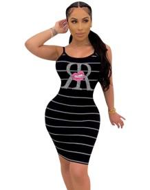 Zwart gestreepte bodycon-jurk met bandjes