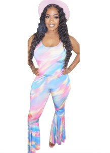 Summer Sexy Tie Dye Flare Jumpsuit