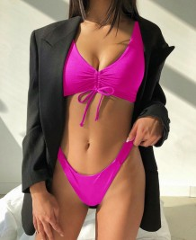 Solid Color Two Piece Strings Swimwear