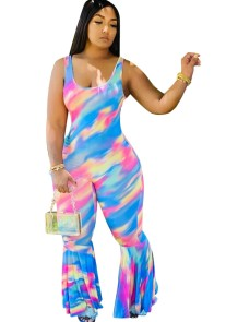 Zomer Sexy Tie Dye Flare Jumpsuit
