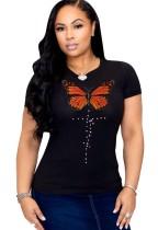 Camisa básica Summer O-Neck Butterfly