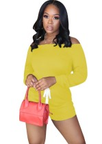Casual Off the Shoulder Solid Color Drawstrings Rompers