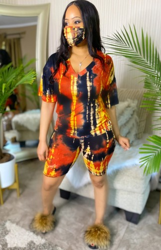Summer Casual Two Piece Tie Dye Shorts Set with Face Wear