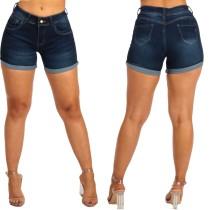 Sexy blauwe jeansshort met hoge taille