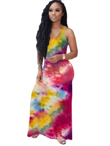 Summer Tie Dye Sleeveless Long Dress