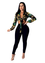 Conjunto de top y pantalones africanos con estampado sexy