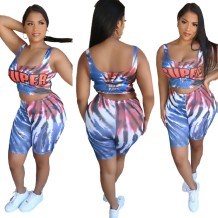 Summer Tie Dye Two Piece Sports Shorts Set