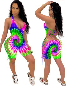 Summer Tie Dye Lace Up Sexy Bodycon Rompers
