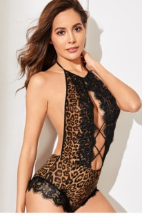 Lace Accent Sexy Leopard Teddy Lingerie