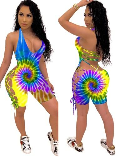 Barboteuses moulantes sexy à lacets d'été tie dye