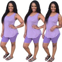 Summer Puple Stripes Vest and Shorts Set