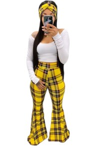 African Three Piece Plaid Flare Pants Set