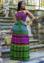 Robe Longue Halter Africaine Multicolore Eté
