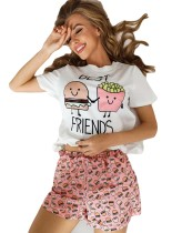 Summer Print Two Piece Shorts Pajama Set