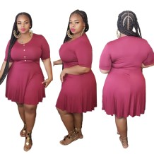 Plus Size Sheer Casual Short Dress