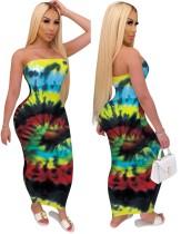Vestido tubo sin tirantes de verano con efecto tie dye