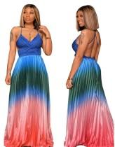 Vestido largo halter africano multicolor