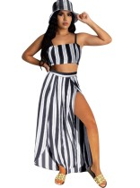 Summer Stripes Crop Top and Long Skirt Set