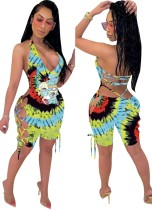 Verano Sexy Lace Up Tie Dye Cartoon Bodycon Rompers