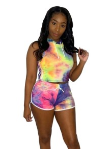 Summer Sports Two Piece Tie Dye Short Set