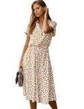 Sommer lässiges Kurzarm-Leopardenkleid